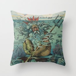 Vintage Poseidon & Sunken Ships Illustration (1898) Throw Pillow