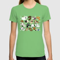 Dog pattern Grass Womens Fitted Tee LARGE
