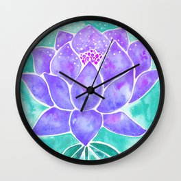 Sacred Lotus – Lavender Blossom on Mint Palette Wall Clock