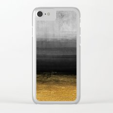 Black and Gold grunge stripes on modern grey beton abstract backround- Stripe-Striped Clear iPhone Case
