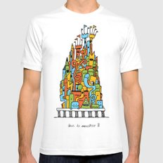 Monster Tower III MEDIUM White Mens Fitted Tee