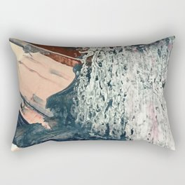 Kelly [2]: a bold, textured, abstract mixed media piece in fall colors/ blue, burnt sienna, ochre Rectangular Pillow