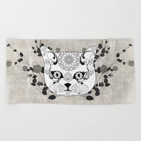 Wonderful sugar cat skull Beach Towel