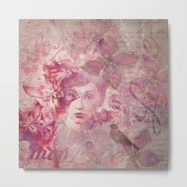 Lost Moments woman romantic illustration in shades of red Metal Print