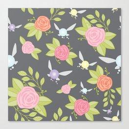 Garden of Fairies Pattern in Grey Canvas Print