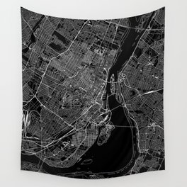 Montreal Black Map Wall Tapestry