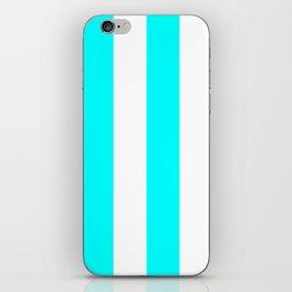 Wide Vertical Stripes - White and Aqua Cyan iPhone Skin
