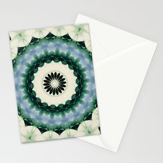 White Flower and Cerulean Blue Mandala Stationery Cards
