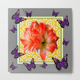 Grey Purple Butterflies Pink Amaryllis Flowers Yellow Pattern Metal Print