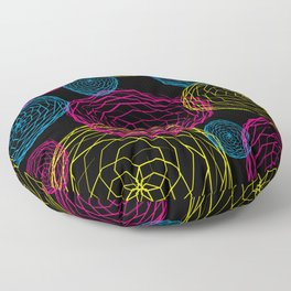 Spiro Blooms in Noir Floor Pillow