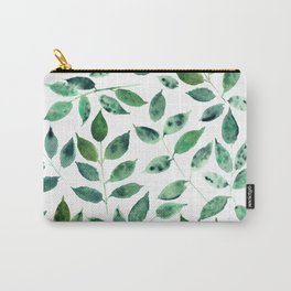 Silence in the forest - watercolor green leaves, foliage Carry-All Pouch