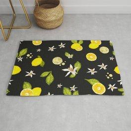Lemon, #lemon slice and leaves pattern black background #artprint Rug