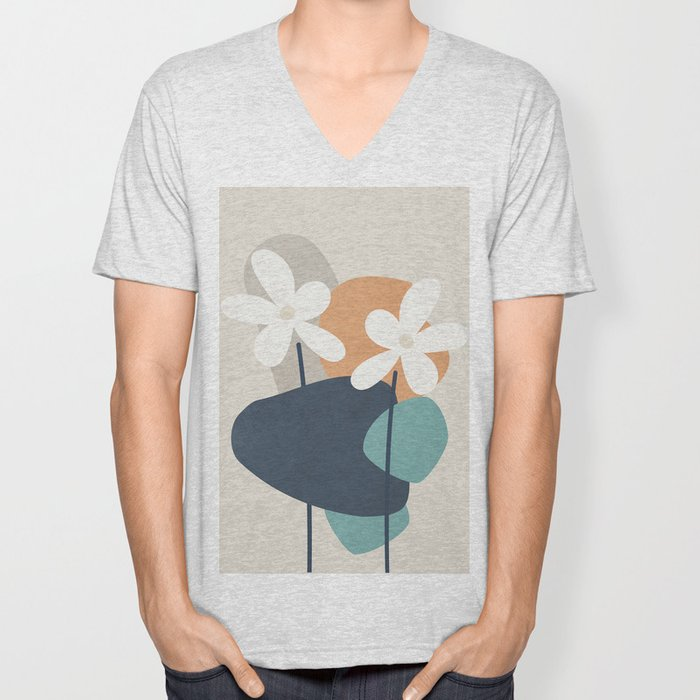 Abstract Flowers 3 Unisex V-Neck