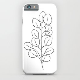 Eucalyptus Leaves | Line Drawing | Abstract | Tropical Leaf iPhone Case