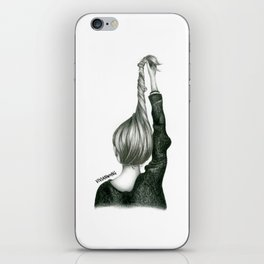 Black & White Pencil Sketch - Twisted Hairstyle/Updo iPhone Skin
