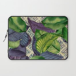 Banana Leaves on Mudcloth green,tan Laptop Sleeve