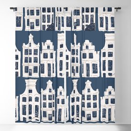 Dutch white and blue building pattern Blackout Curtain
