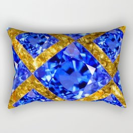 ASYMMETRIC ROYAL BLUE SAPPHIRE GEMSTONES ART ON GOLD Rectangular Pillow