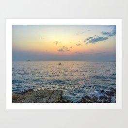 Seacoast of the peninsula of Rovinji at sunset Art Print