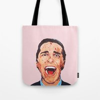 american psycho Tote Bags featuring American Psycho by LookingForNikky