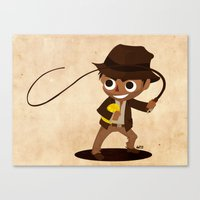 indiana jones Canvas Prints featuring Indiana Jones by Delucienne Maekerr
