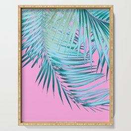 Palm Leaves Pink Blue Vibes #1 #tropical #decor #art #society6 Serving Tray