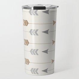 Tribal Arrows Pattern - Cream, Brown and Grey Travel Mug