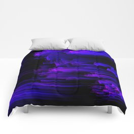 Ultraviolet Light Speed - Abstract Glitch Pixel Art Comforters