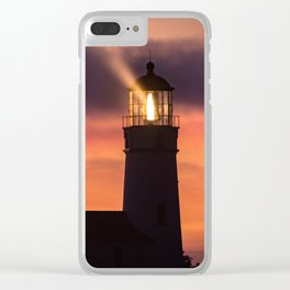 Cape Blanco Lighthouse beacon at sunset Clear iPhone Case