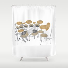 White Drum Kit Shower Curtain