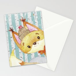 Winter Woodland Friends Fox Snowy Forest Illustration Stationery Cards