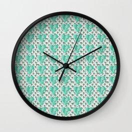 Clover Pattern Green Wall Clock