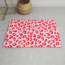 Leopard Print - Red And Pink Rug
