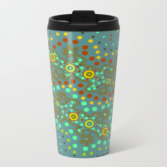 Lizards- aboriginal art Metal Travel Mug