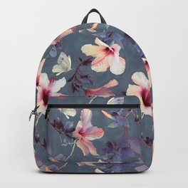 Butterflies and Hibiscus Flowers - a painted pattern Backpack