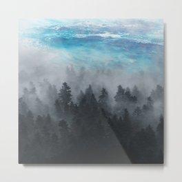 Misty Forest & Ocean Beauty Metal Print