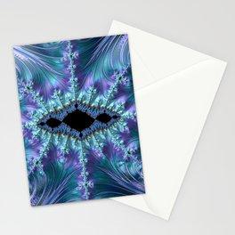 Feminine Elegant Fancy Stylish Swoosh Swirl Flourish Fractal Abstract Purple Aqua Turquoise Art Stationery Cards