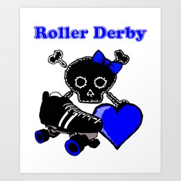 Roller Derby Heart (Blue) Art Print