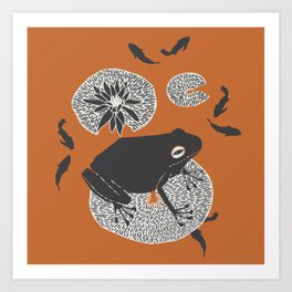 Frog on a Lily Pad Art Print