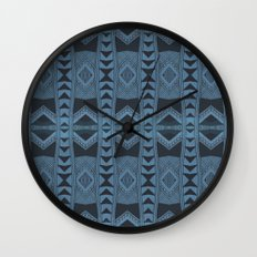 Blue Doodle Geometry  Wall Clock