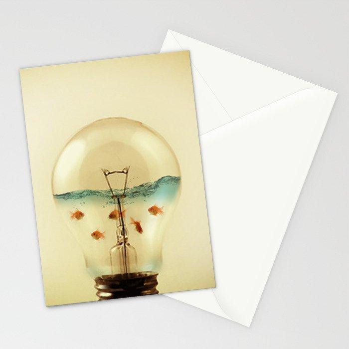gold fish globe Stationery Cards
