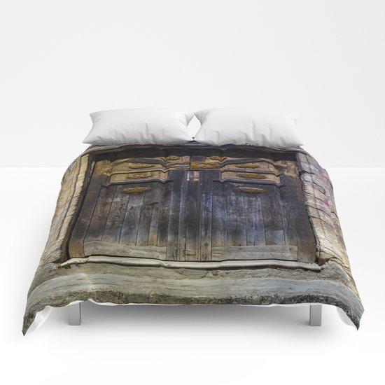 Old brown door Comforters