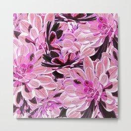 Pink Desert Succulents Metal Print