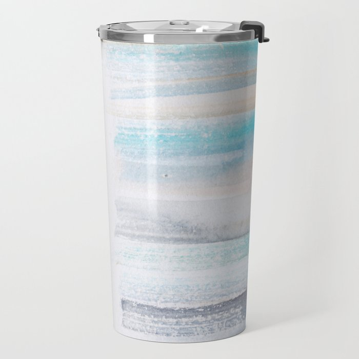 18  | 181101 Watercolour Palette Abstract Art | Lines | Stripes | Travel Mug