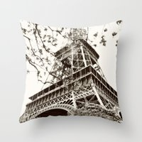eiffel tower Throw Pillows featuring Eiffel Tower by Linde Townsend
