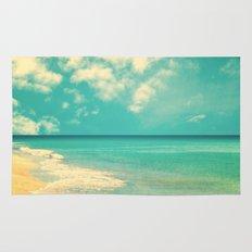 Retro beach and turquoise sky (square) Rug
