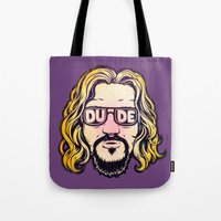 the dude Tote Bags featuring Dude by Beery Method