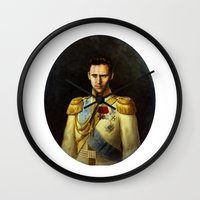 tom hiddleston Wall Clocks featuring Tom Hiddleston 001 by TheTreasure