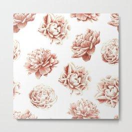 Rose Garden Vintage Rose Pink Cream and White Metal Print