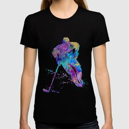 Boy Ice Hockey Colorful Sports Art Watercolor Gift T-shirt